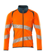 19184-781-1444 Sweatshirt med lynlås - hi-vis orange/mørk petroleum