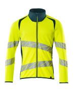 19184-781-1744 Sweatshirt med lynlås - hi-vis gul/mørk petroleum