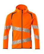 19284-781-1418 Hættetrøje med lynlås - hi-vis orange/mørk antracit