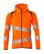 19284-781-1444 Hættetrøje med lynlås - hi-vis orange/mørk petroleum