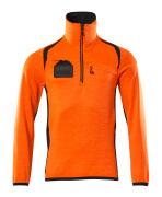 19303-316-14010 Fleecetrøje med kort lynlås - hi-vis orange/mørk marine