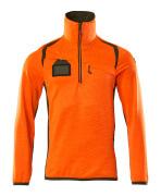 19303-316-1433 Fleecetrøje med kort lynlås - hi-vis orange/mosgrøn