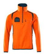 19303-316-1444 Fleecetrøje med kort lynlås - hi-vis orange/mørk petroleum