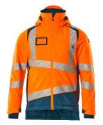 19335-231-1444 Vinterjakke - hi-vis orange/mørk petroleum