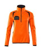 19353-316-14010 Fleecetrøje med kort lynlås - hi-vis orange/mørk marine