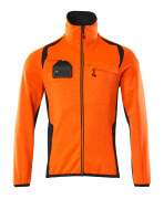 19403-316-14010 Fleecetrøje med lynlås - hi-vis orange/mørk marine