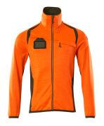 19403-316-1433 Fleecetrøje med lynlås - hi-vis orange/mosgrøn