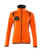 19453-316-14010 Fleecetrøje med lynlås - hi-vis orange/mørk marine