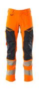19479-711-14010 Bukser med knælommer - hi-vis orange/mørk marine