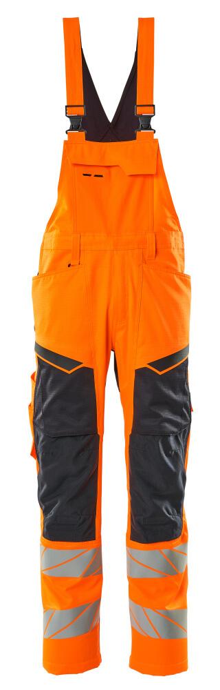 19569-236-14010 Overall med knælommer - hi-vis orange/mørk marine