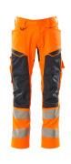19579-236-14010 Bukser med knælommer - hi-vis orange/mørk marine