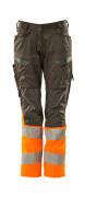 19678-236-1814 Bukser med knælommer - mørk antracit/hi-vis orange
