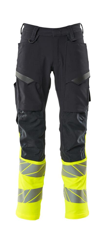 19879-711-01017 Bukser med knælommer - mørk marine/hi-vis gul