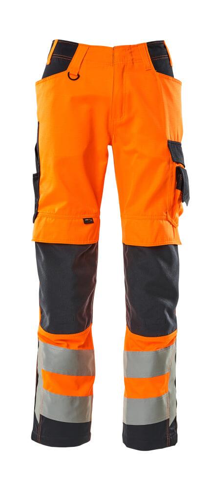 20879-236-14010 Bukser med knælommer - hi-vis orange/mørk marine
