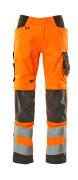 20879-236-1418 Bukser med knælommer - hi-vis orange/mørk antracit