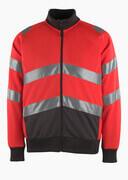 50116-950-A49 Sweatshirt med lynlås - hi-vis rød/mørk antracit