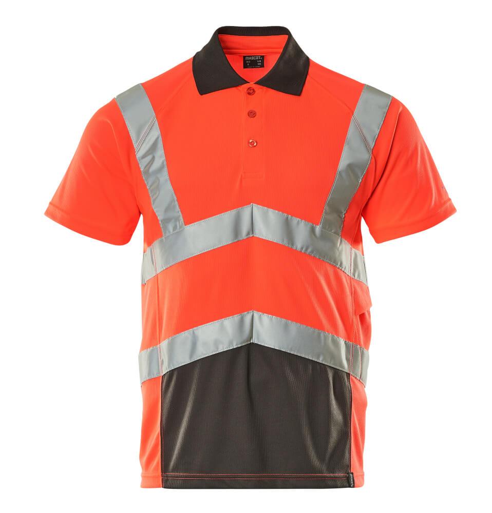 50117-949-A49 Poloshirt - hi-vis rød/mørk antracit