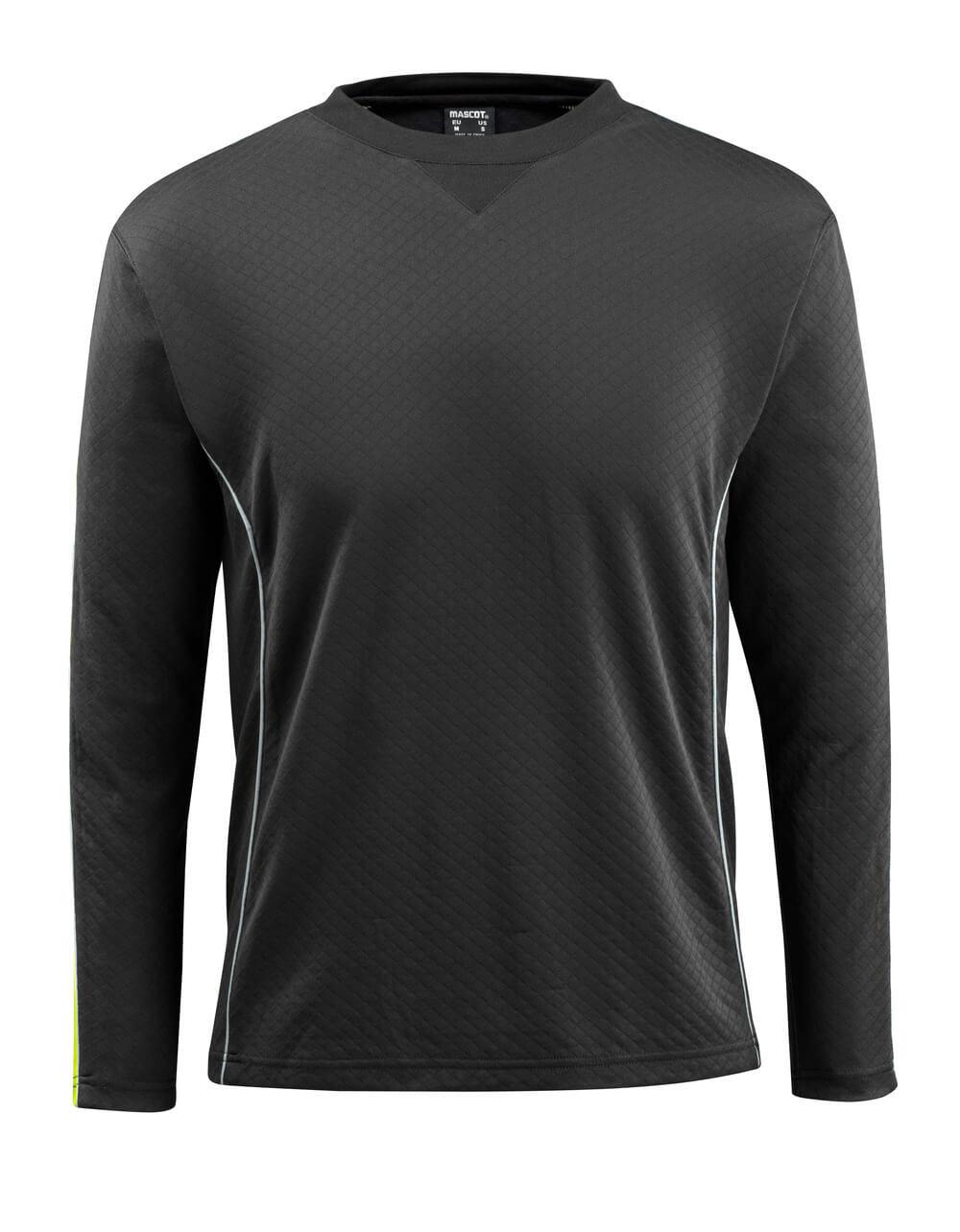 50128-933-0917 T-shirt, langærmet - sort/hi-vis gul