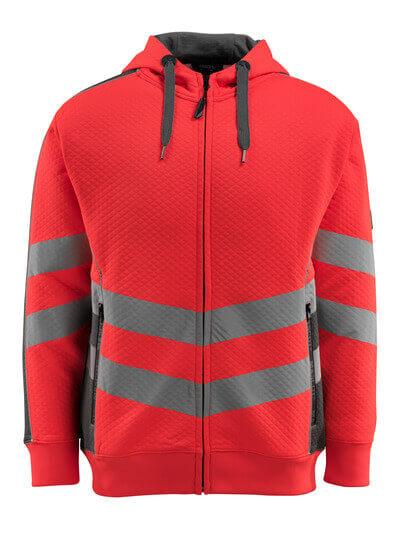 50138-932-14010 Hættetrøje med lynlås - hi-vis orange/mørk marine