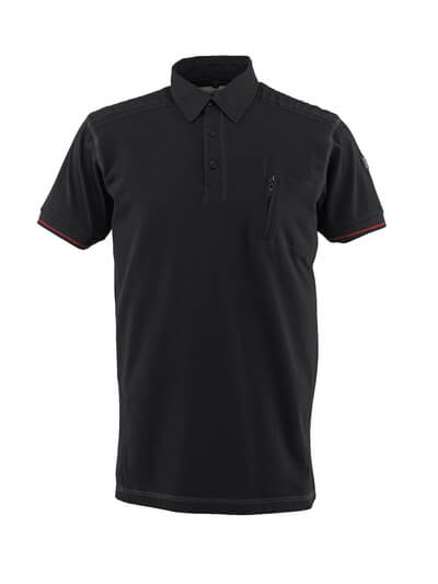 50351-833-09 Poloshirt med brystlomme - sort