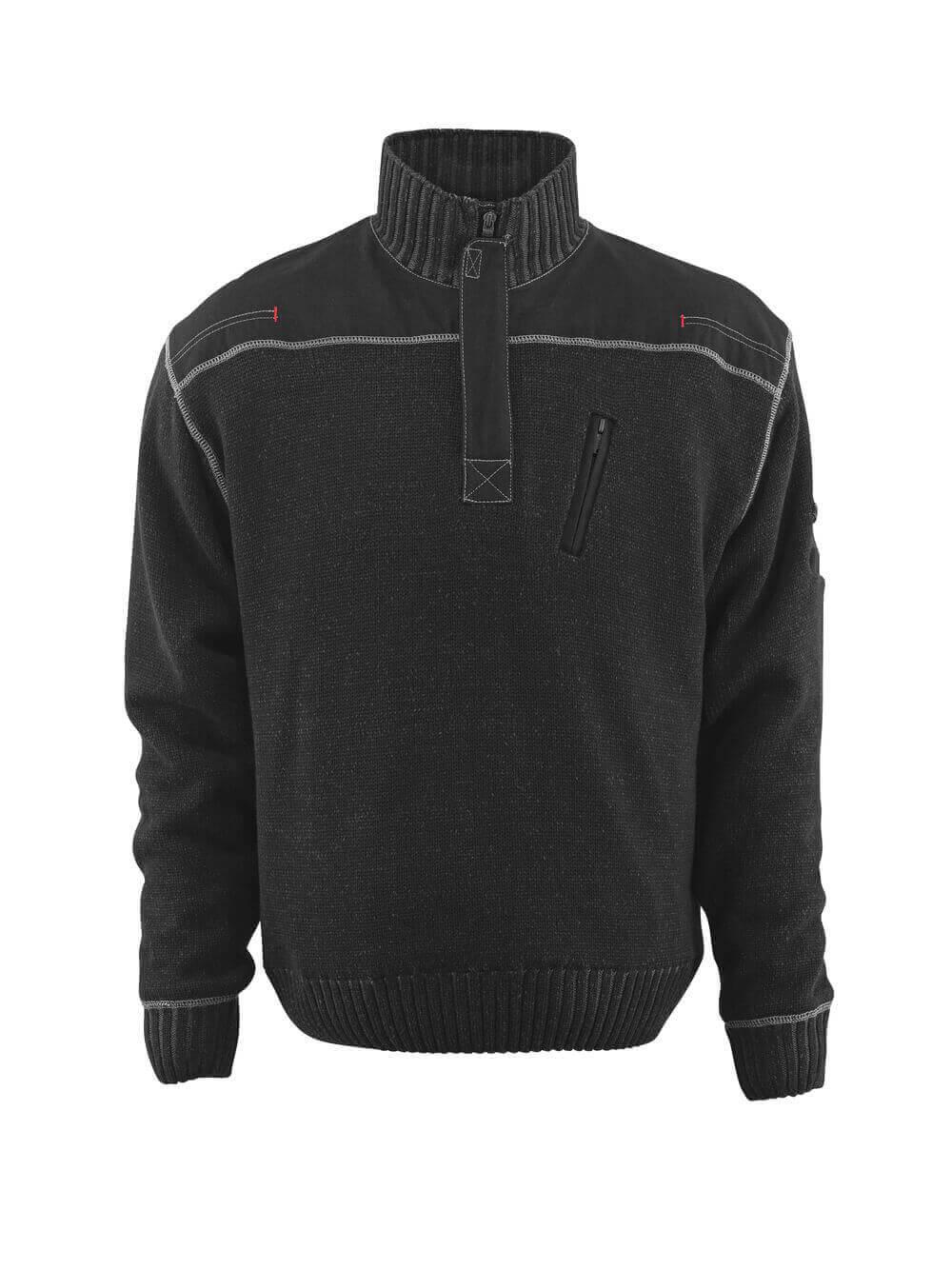 50354-835-09 Striktrøje med kort lynlås - sort