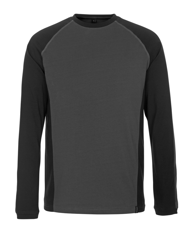 50504-250-1809 T-shirt, langærmet - mørk antracit/sort