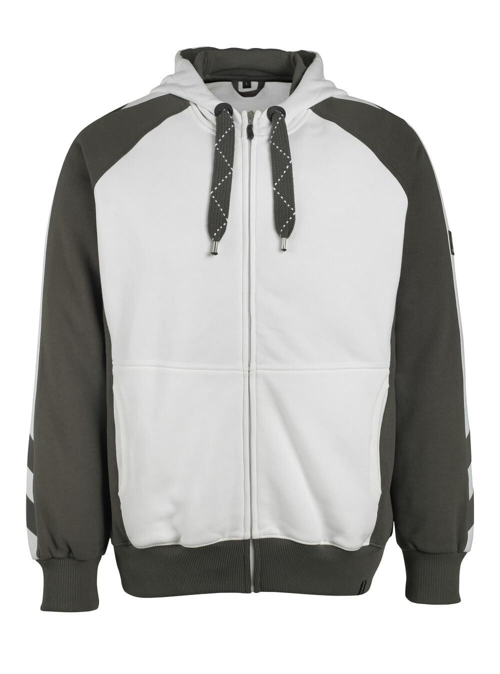 50509-811-0618 Hættetrøje med lynlås - hvid/mørk antracit