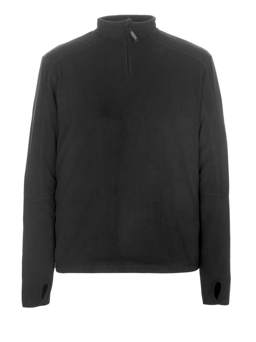 50531-923-09 Fleecetrøje med kort lynlås - sort