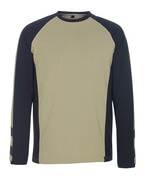50568-959-5509 T-shirt, langærmet - lys kaki/sort