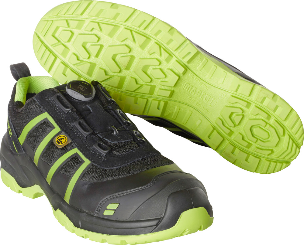 F0125-773-0917 Sikkerhedssko - sort/limegrøn